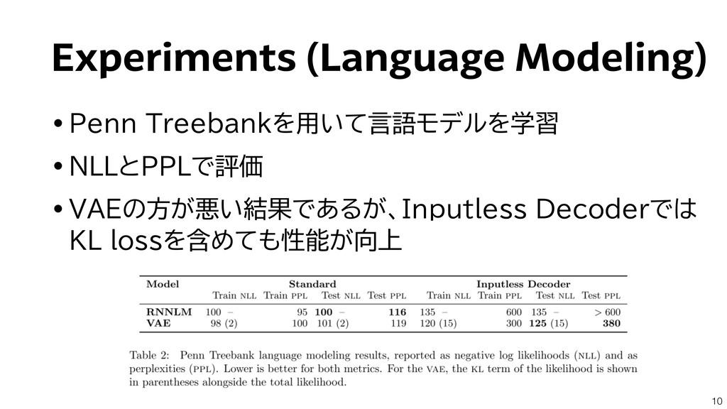 Experiments (Language Modeling) •Penn Treebankを...