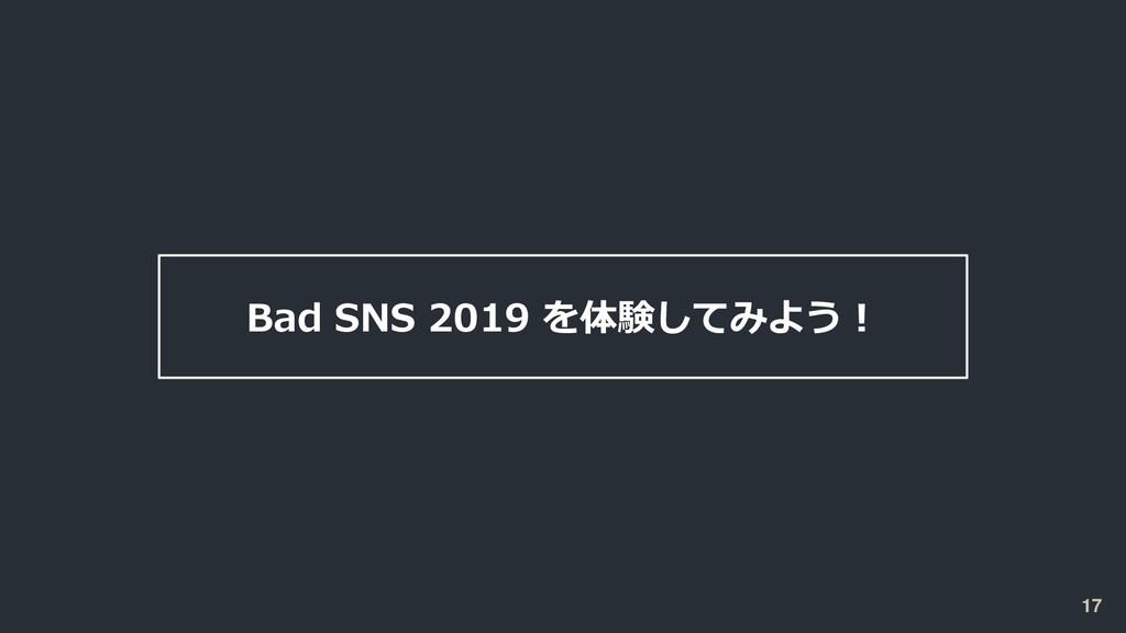 Bad SNS 2019 を体験してみよう! 17