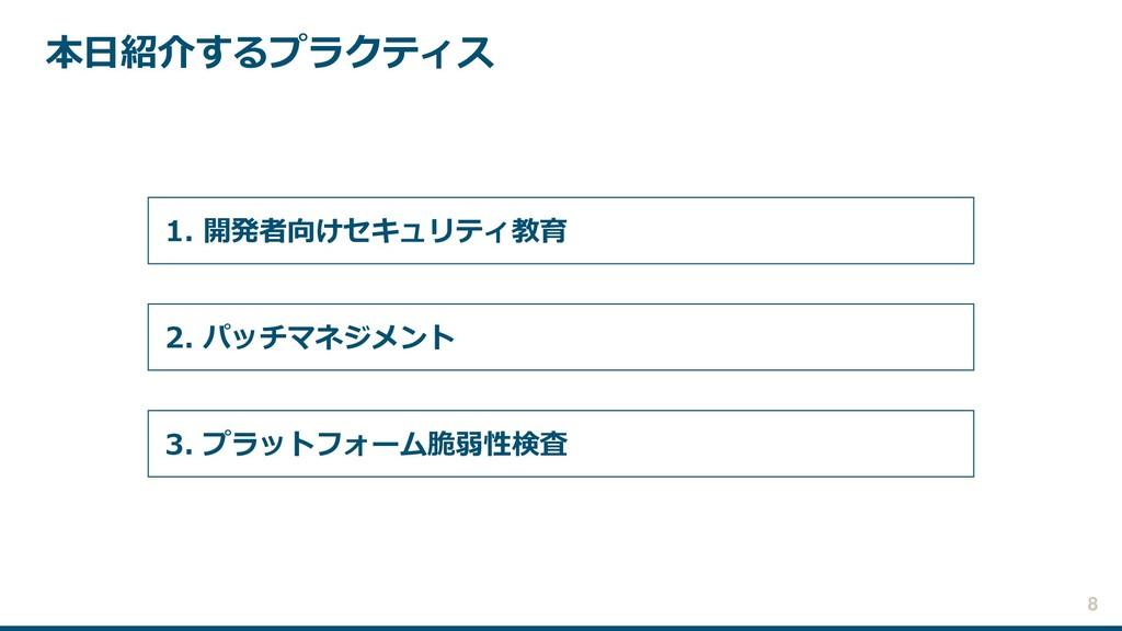 本日紹介するプラクティス 2. パッチマネジメント 1. 開発者向けセキュリティ教育 3. プ...