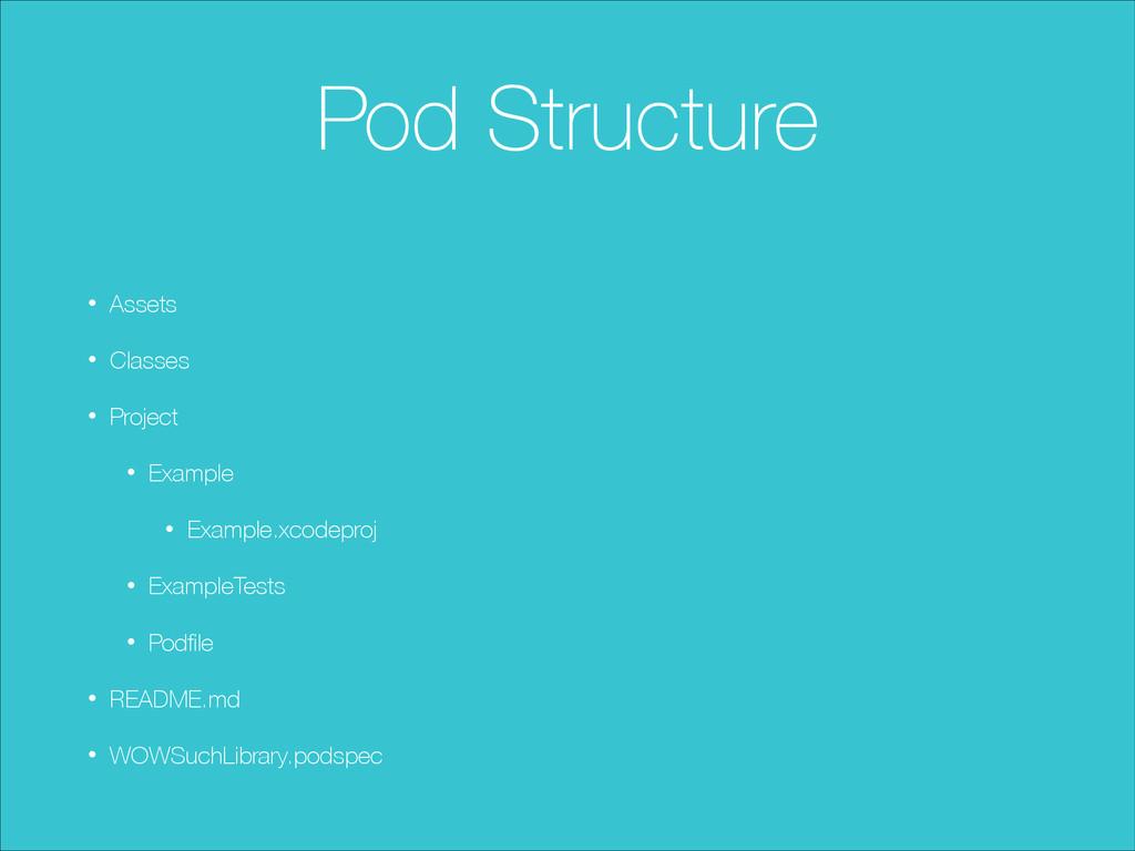 Pod Structure ! • Assets • Classes • Project • ...