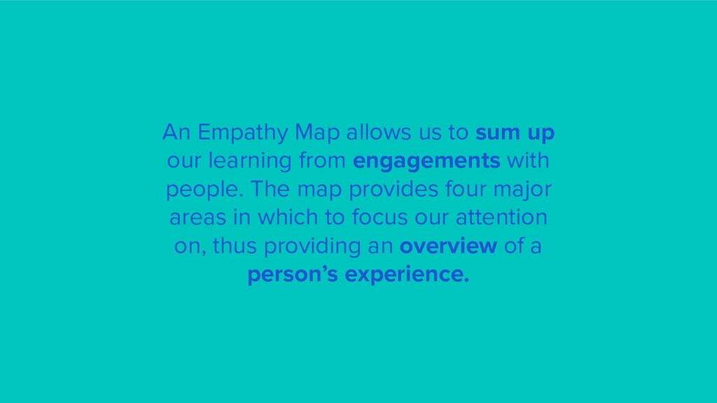 An Empathy Map allows us to sum up our learning...