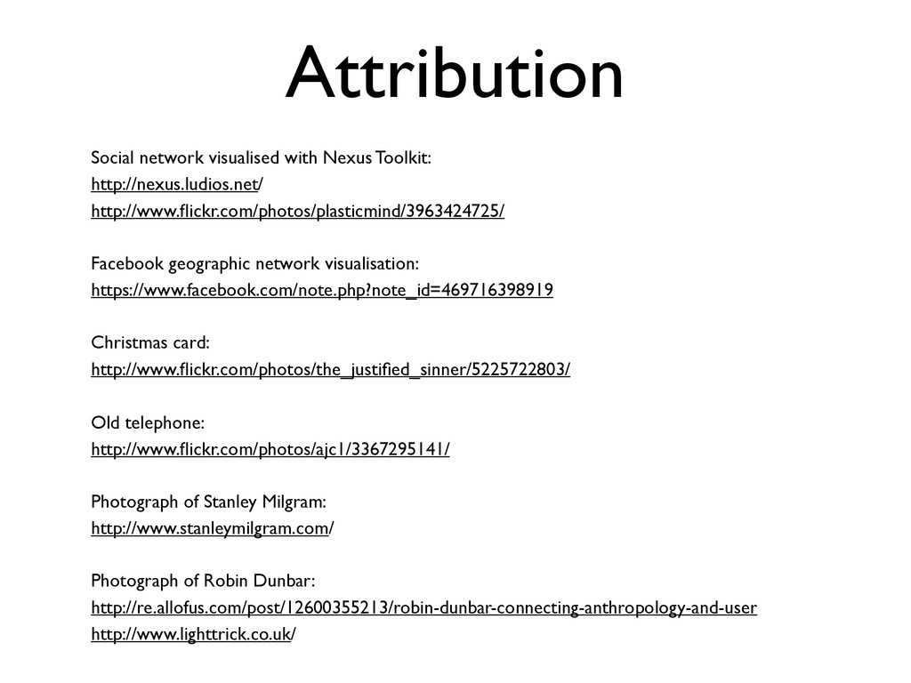 Attribution Social network visualised with Nexu...