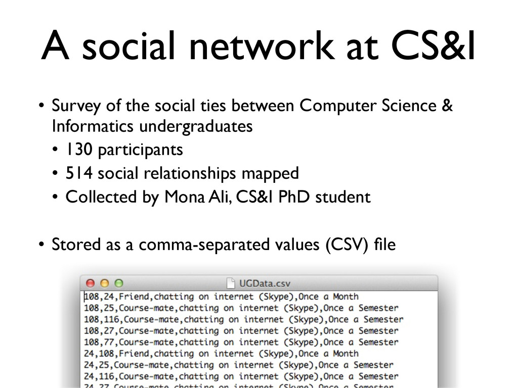 A social network at CS&I • Survey of the social...