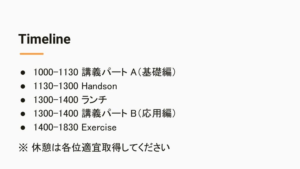 Timeline ● 1000-1130 講義パート A(基礎編) ● 1130-1300 ...