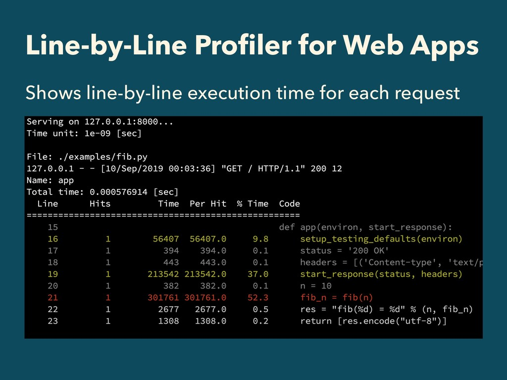 Line-by-Line Profiler for Web Apps Shows line-by...