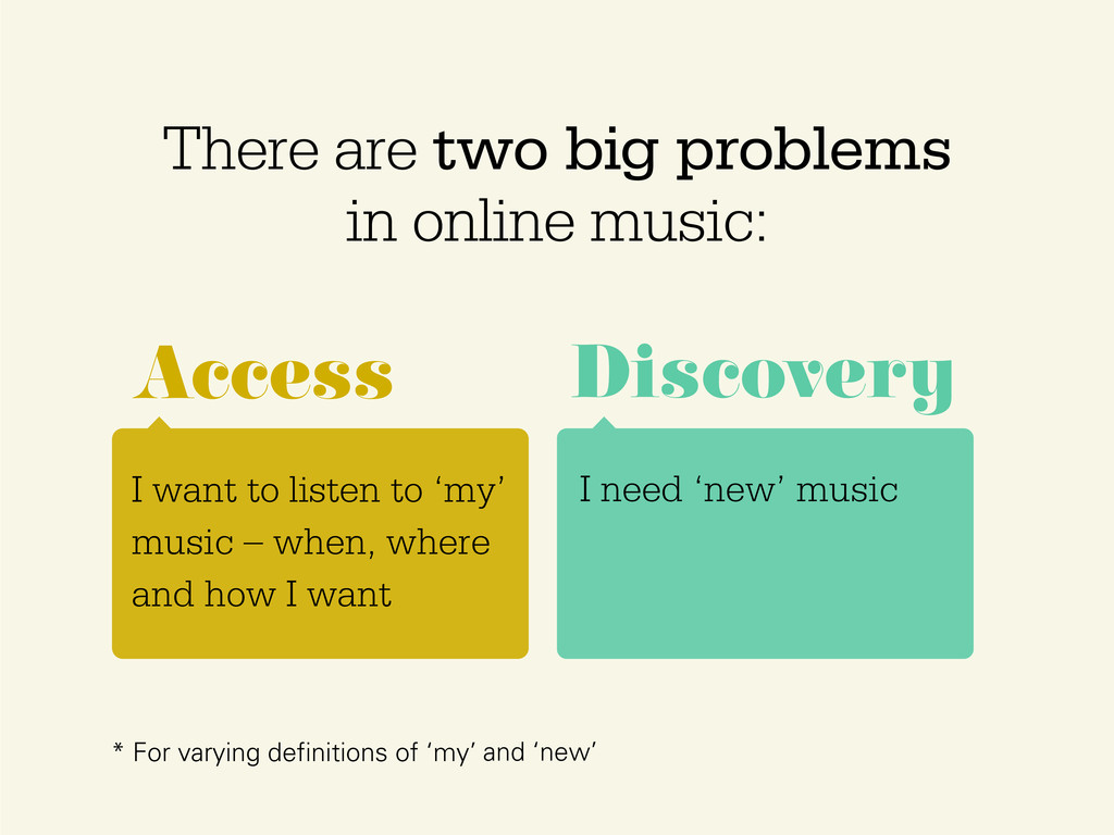 There are two big problems in online music: I w...
