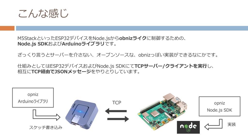 こんな感じ M5StackといったESP32デバイスをNode.jsからobnizライクに制御...