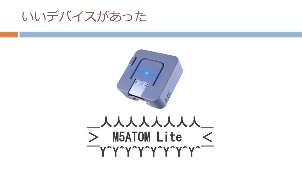 いいデバイスがあった _人人人人人人人人_ > M5ATOM Lite <  ̄Y^Y^Y^Y^...
