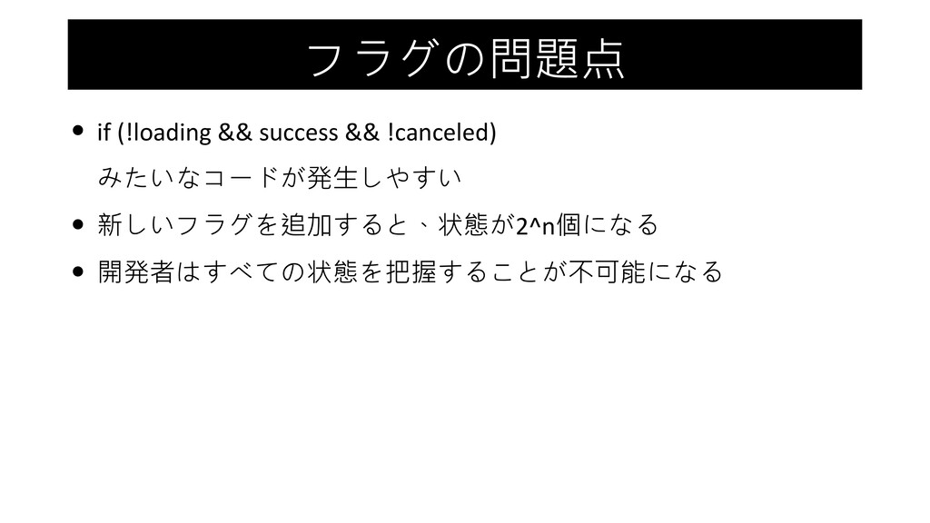 フラグの問題点 • if (!loading && success && !canceled)...