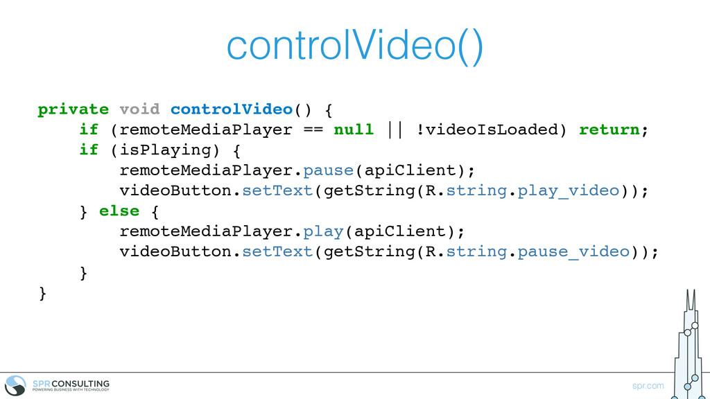 spr.com controlVideo() private void controlVide...