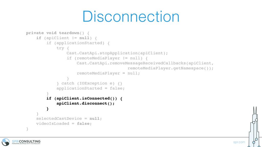 spr.com Disconnection private void teardown() {...