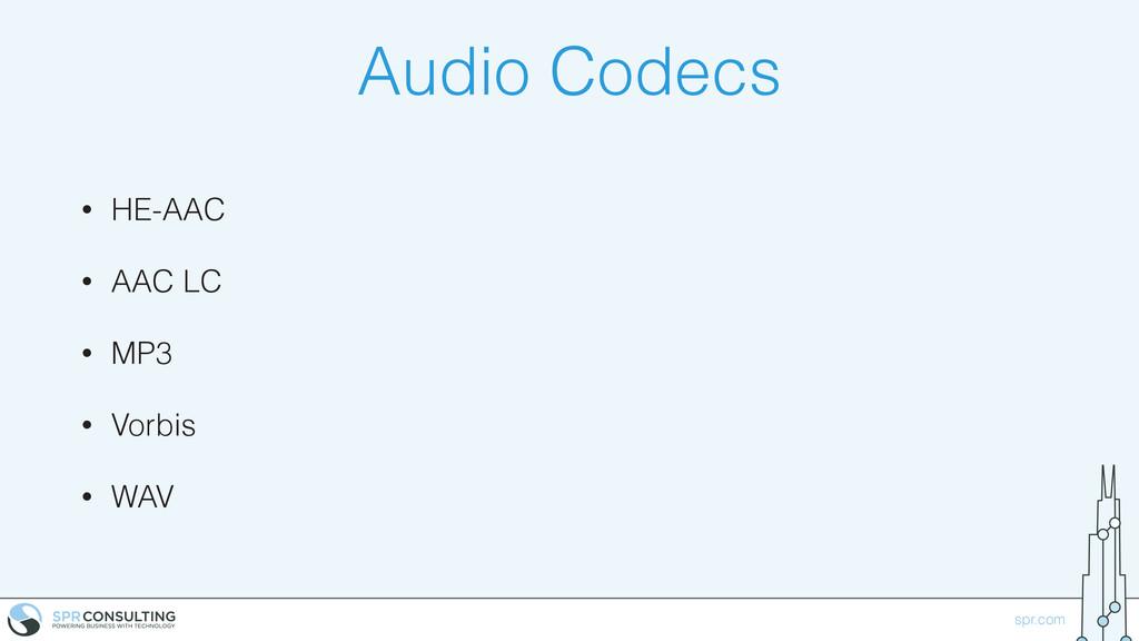 spr.com Audio Codecs • HE-AAC • AAC LC • MP3 • ...