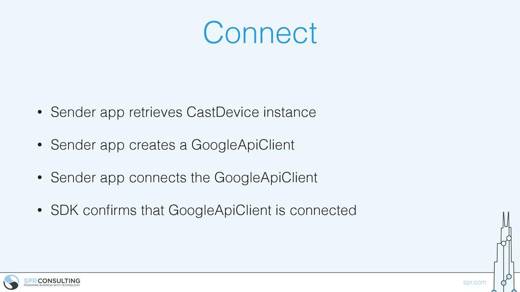 spr.com Connect • Sender app retrieves CastDevi...