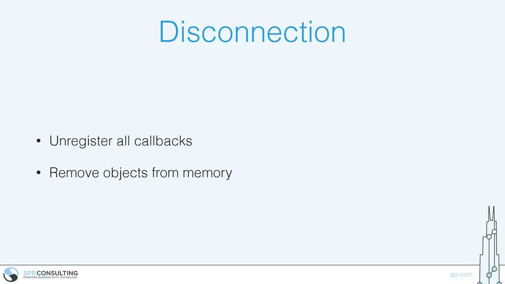 spr.com Disconnection • Unregister all callback...