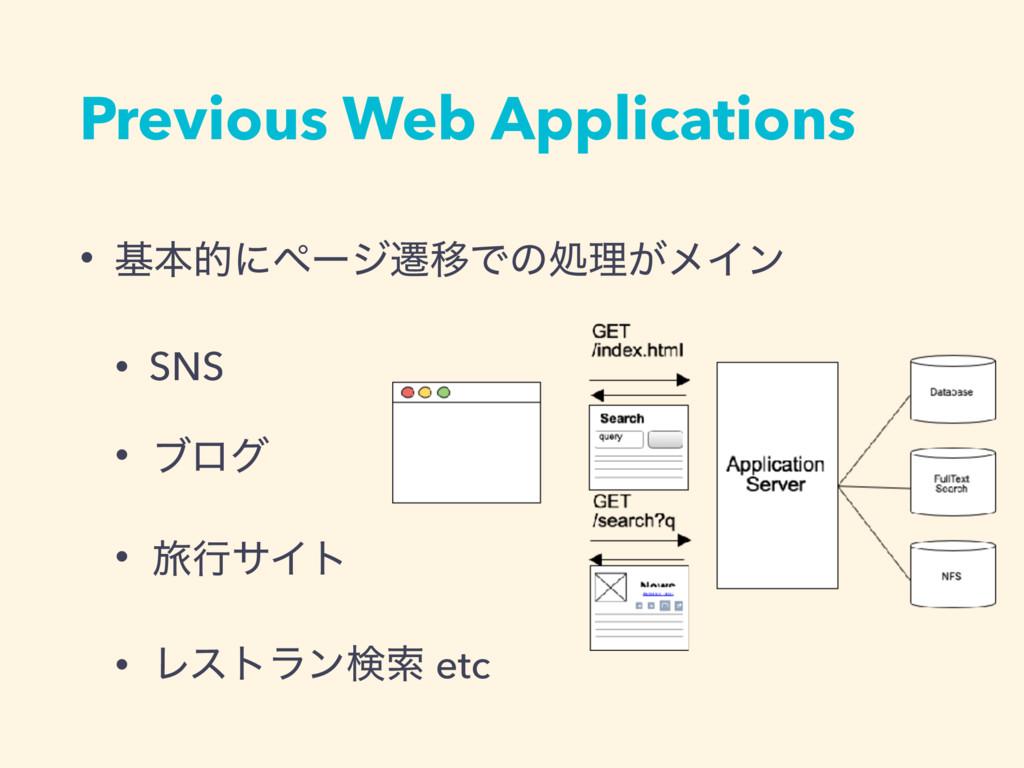 Previous Web Applications • جຊతʹϖʔδભҠͰͷॲཧ͕ϝΠϯ •...