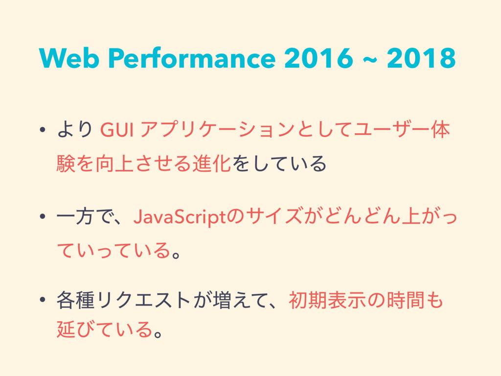 Web Performance 2016 ~ 2018 • ΑΓ GUI ΞϓϦέʔγϣϯͱ͠...
