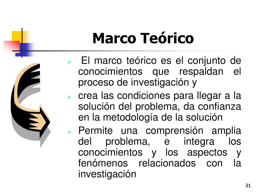 31 Marco Teórico  El marco teórico es el conju...