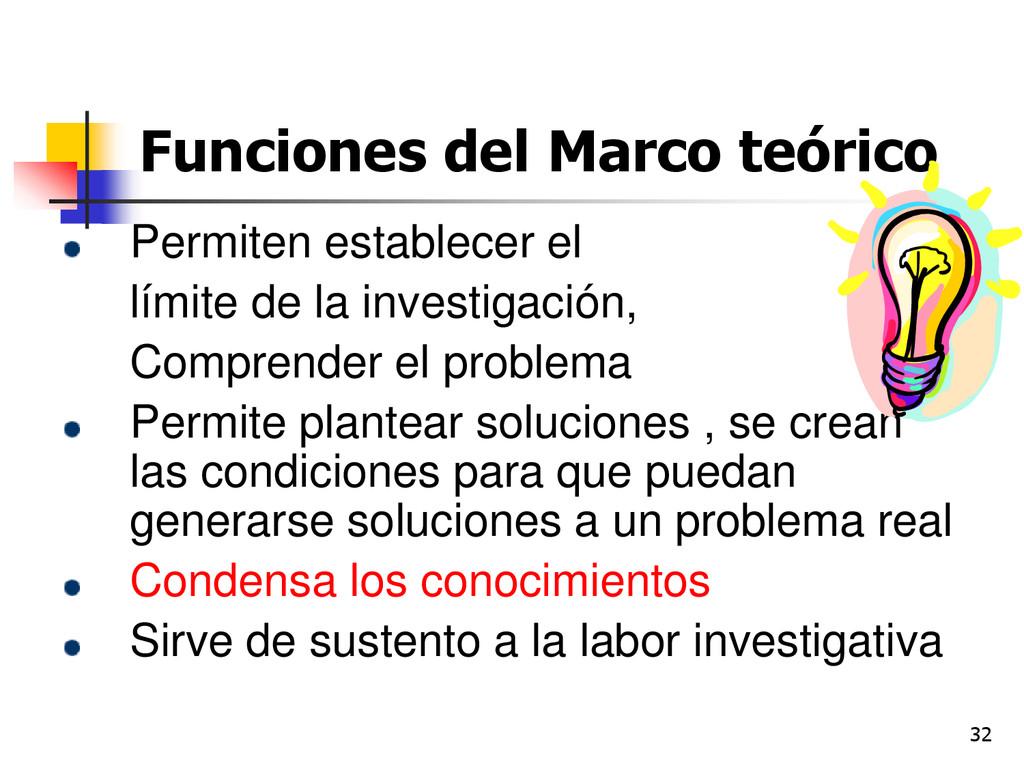 32 Funciones del Marco teórico Permiten estable...