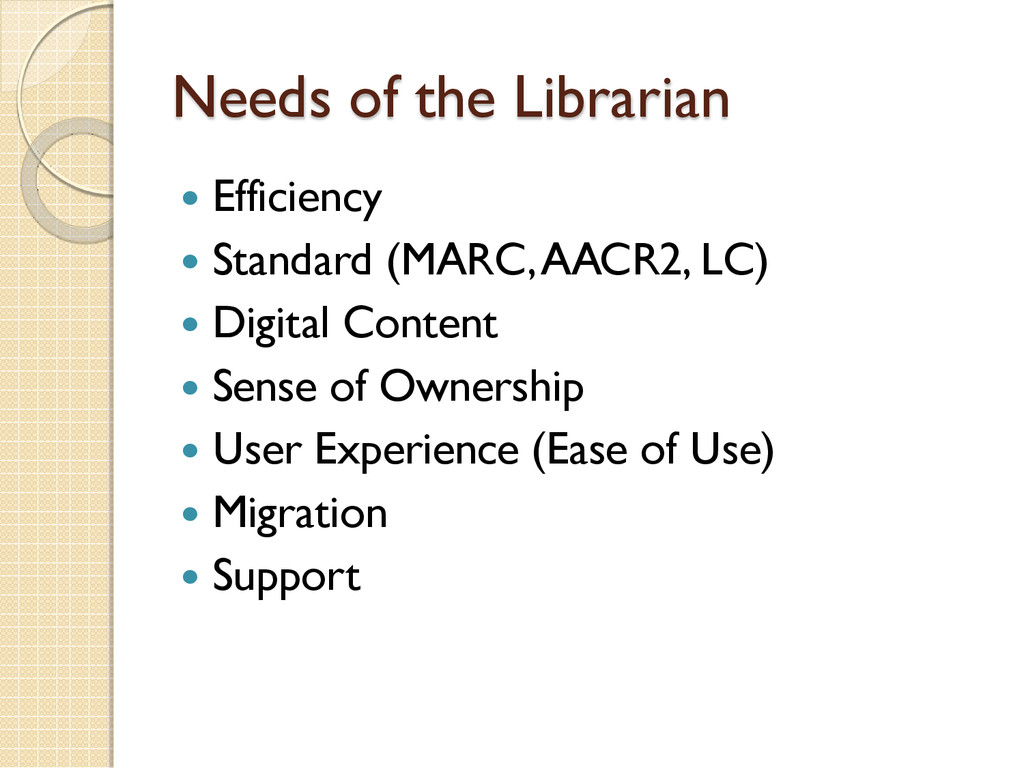 Needs of the Librarian  Efficiency  Standard ...