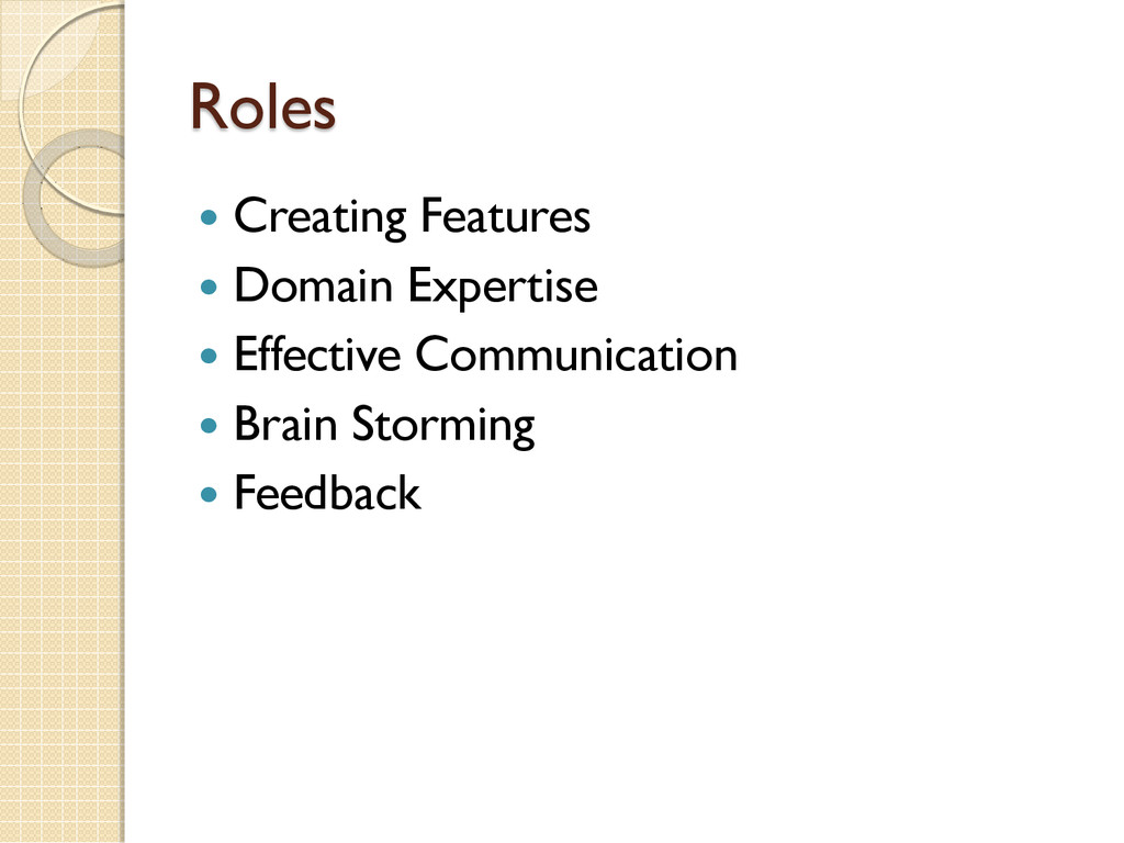 Roles  Creating Features  Domain Expertise  ...