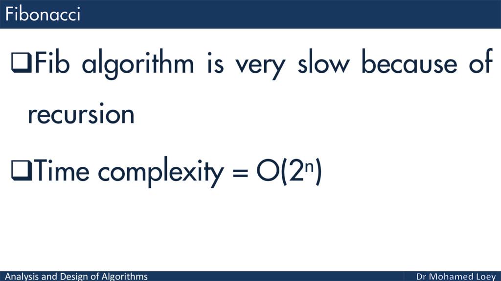 Analysis and Design of Algorithms Fib algorith...