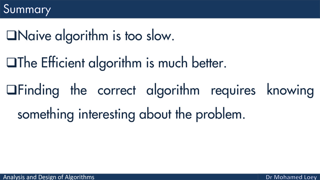 Analysis and Design of Algorithms Naive algori...