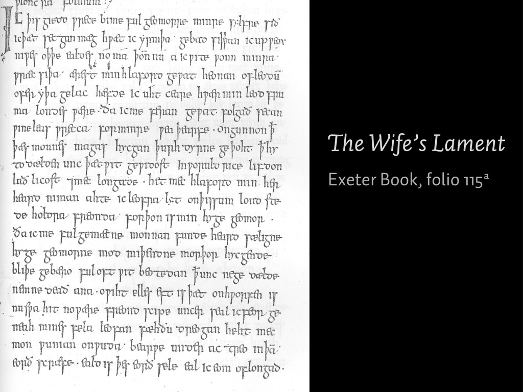 The Wife's Lament Exeter Book, folio 115ª