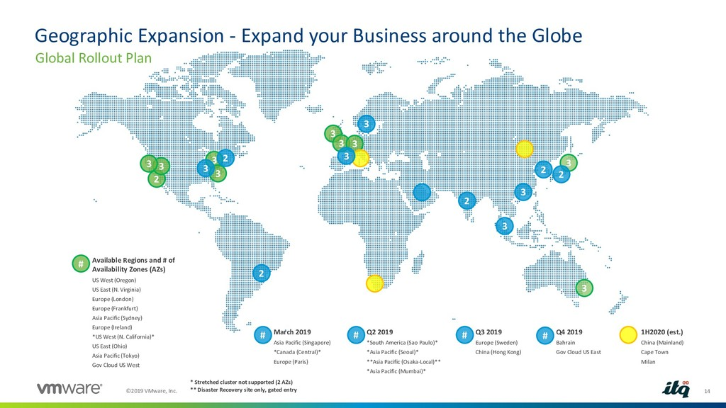 14 ©2019 VMware, Inc. Geographic Expansion - Ex...
