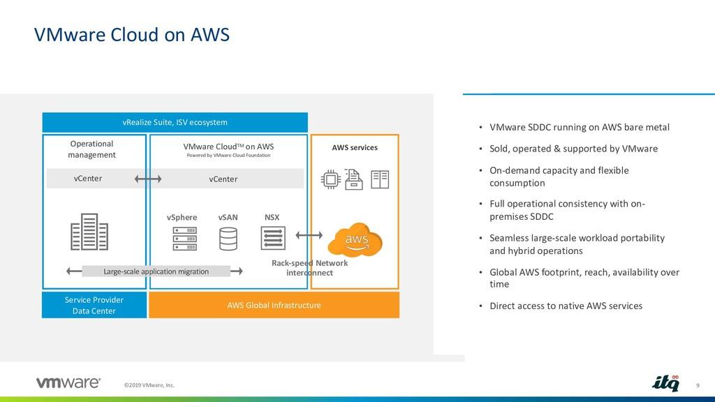 9 ©2019 VMware, Inc. VMware Cloud on AWS • VMwa...