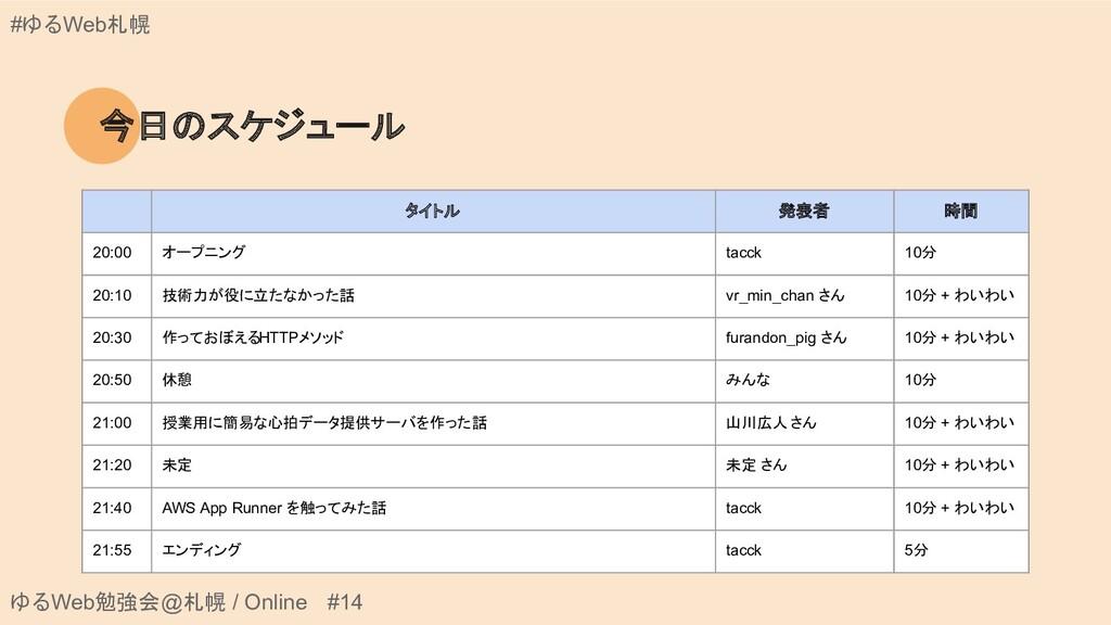ゆるWeb勉強会@札幌 / Online #14 #ゆるWeb札幌 今日のスケジュール タイト...