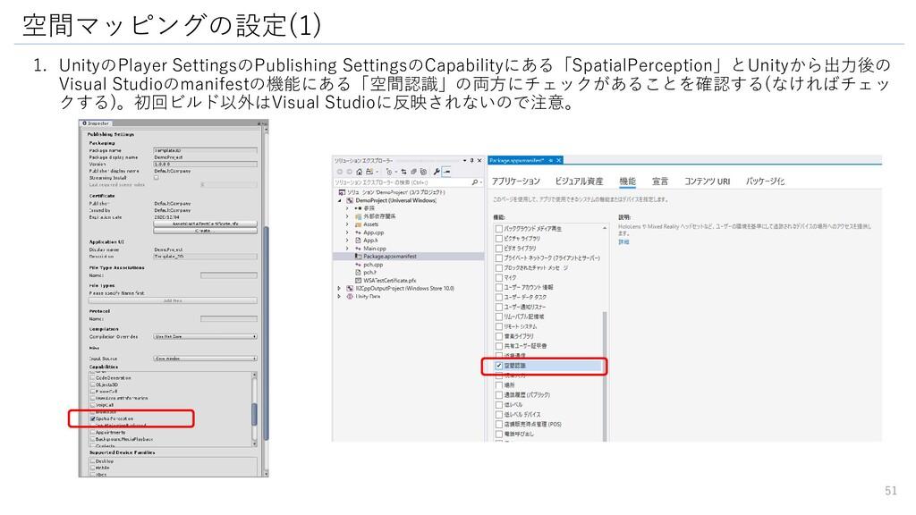 空間マッピングの設定(1) 51 1. UnityのPlayer SettingsのPubli...