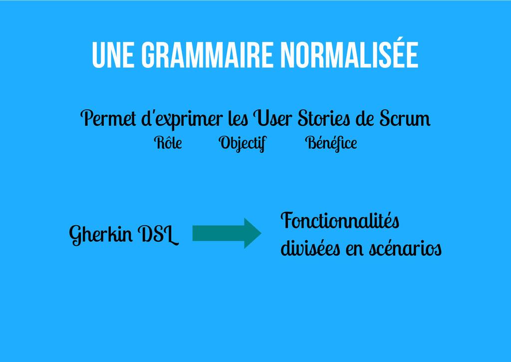 Une grammaire normalisée Permet d'exprimer les ...