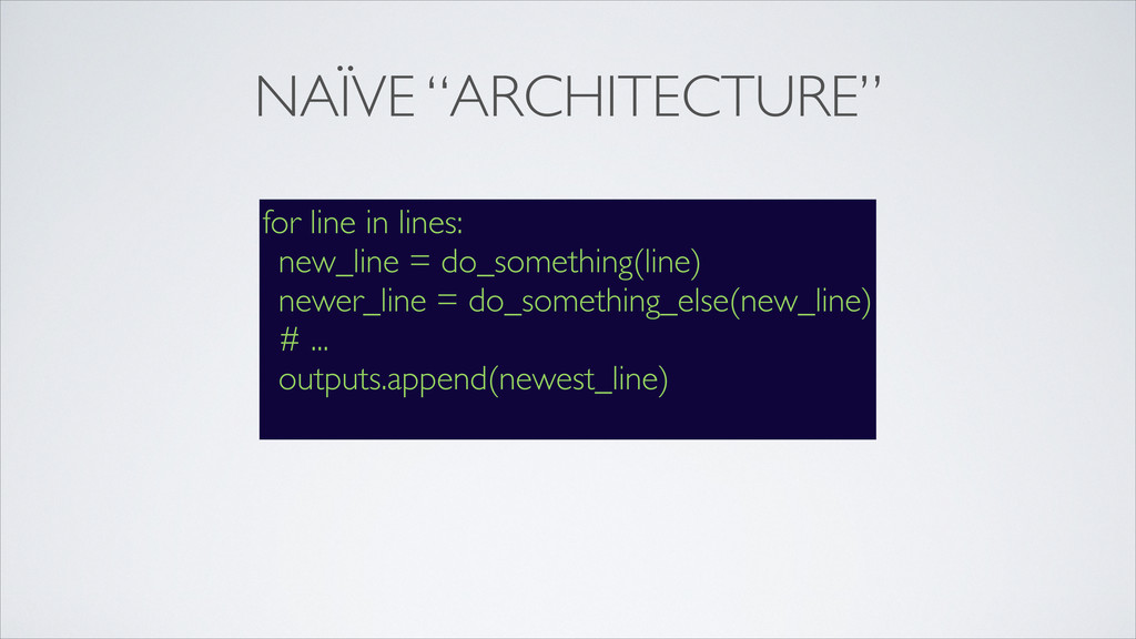 """NAÏVE """"ARCHITECTURE"""" for line in lines: new_lin..."""
