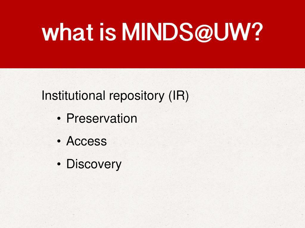 Institutional repository (IR) • Preservation • ...
