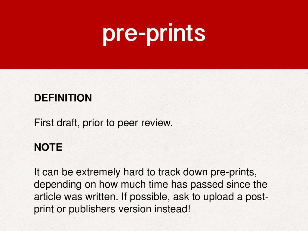 DEFINITION First draft, prior to peer review. N...