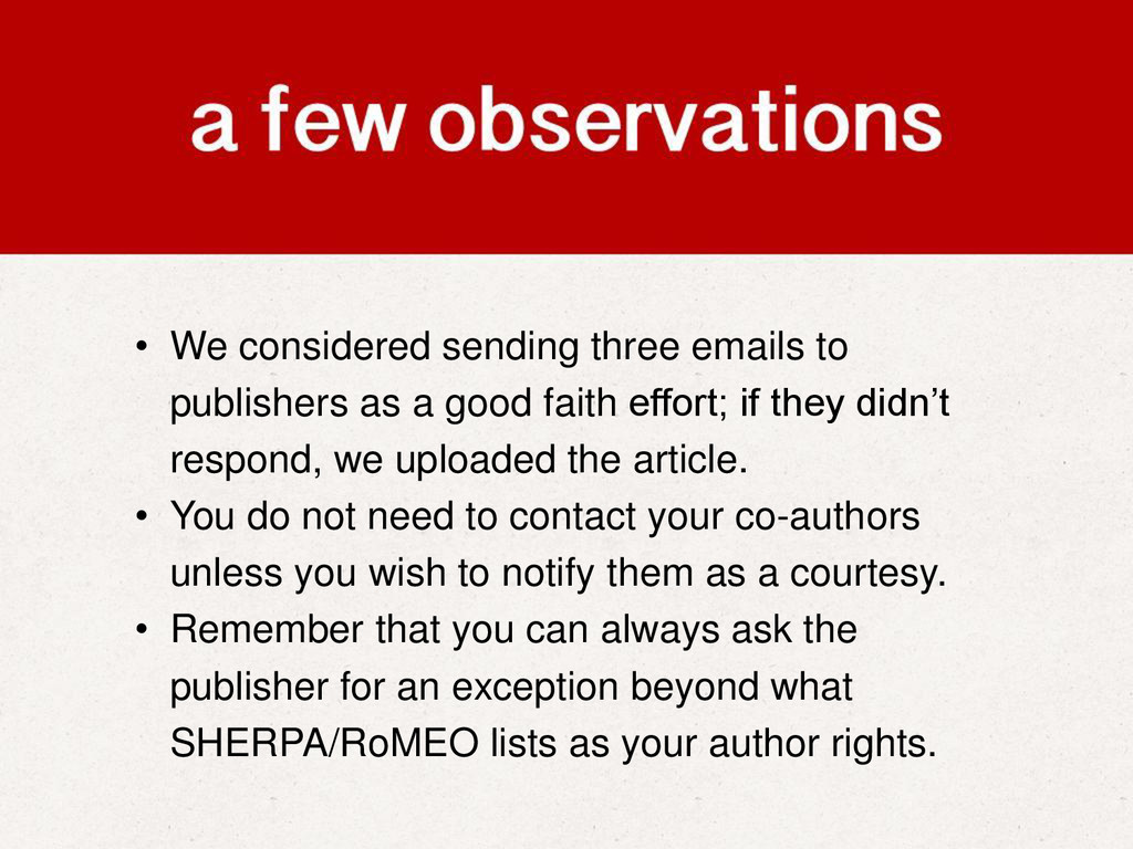 • We considered sending three emails to publish...
