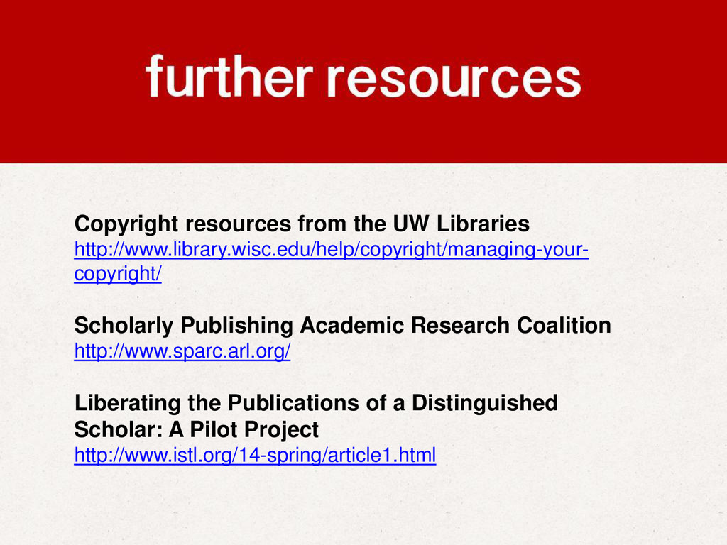 Copyright resources from the UW Libraries http:...