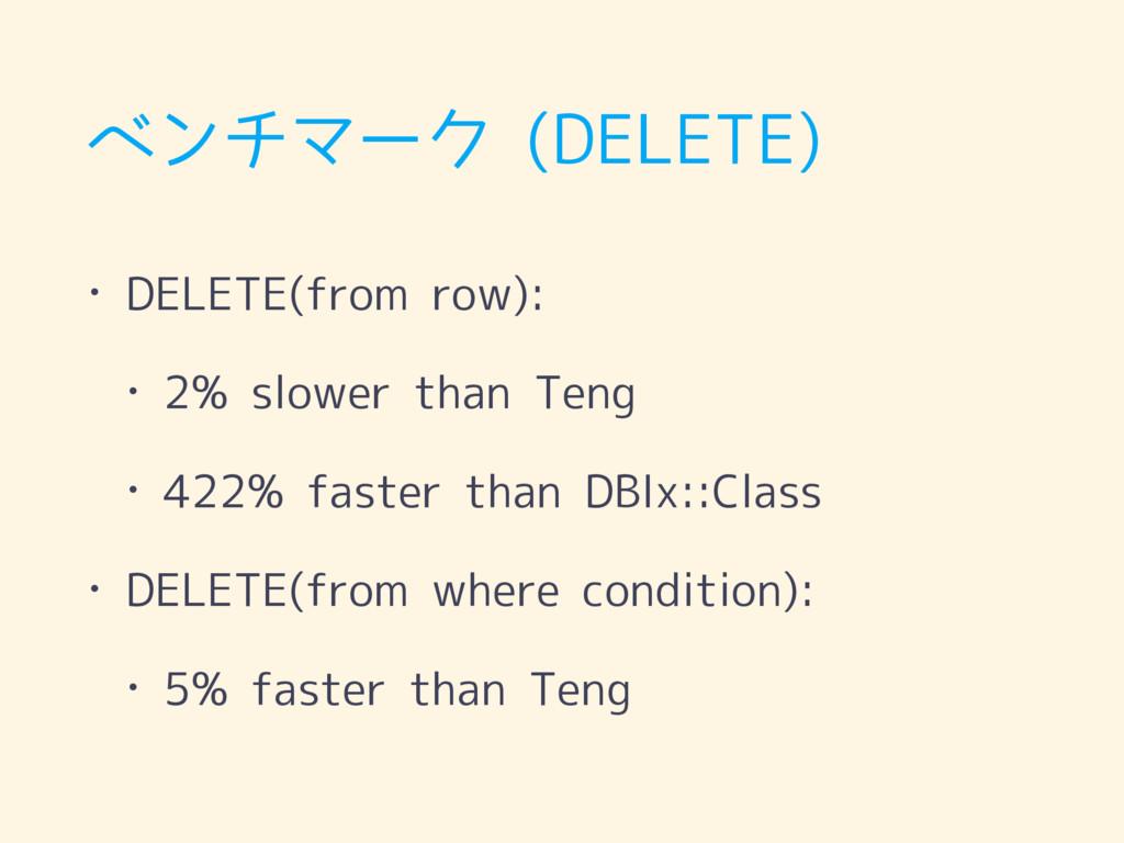 ベンチマーク (DELETE) • DELETE(from row): • 2% slower...