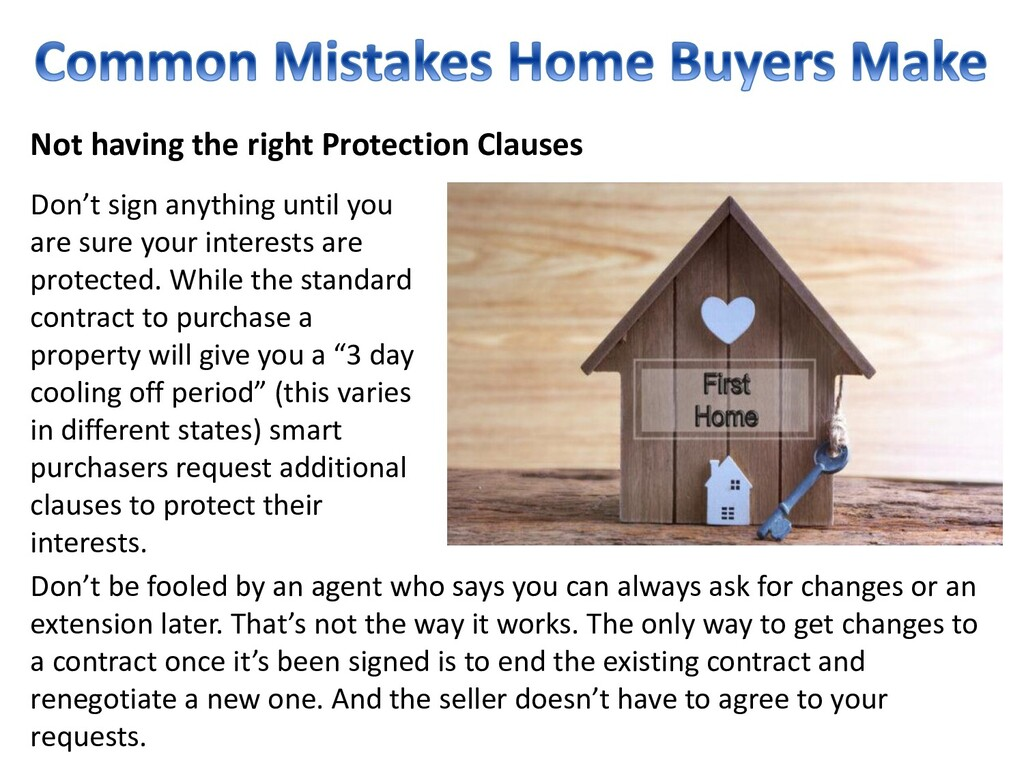 Not having the right Protection Clauses Don't s...