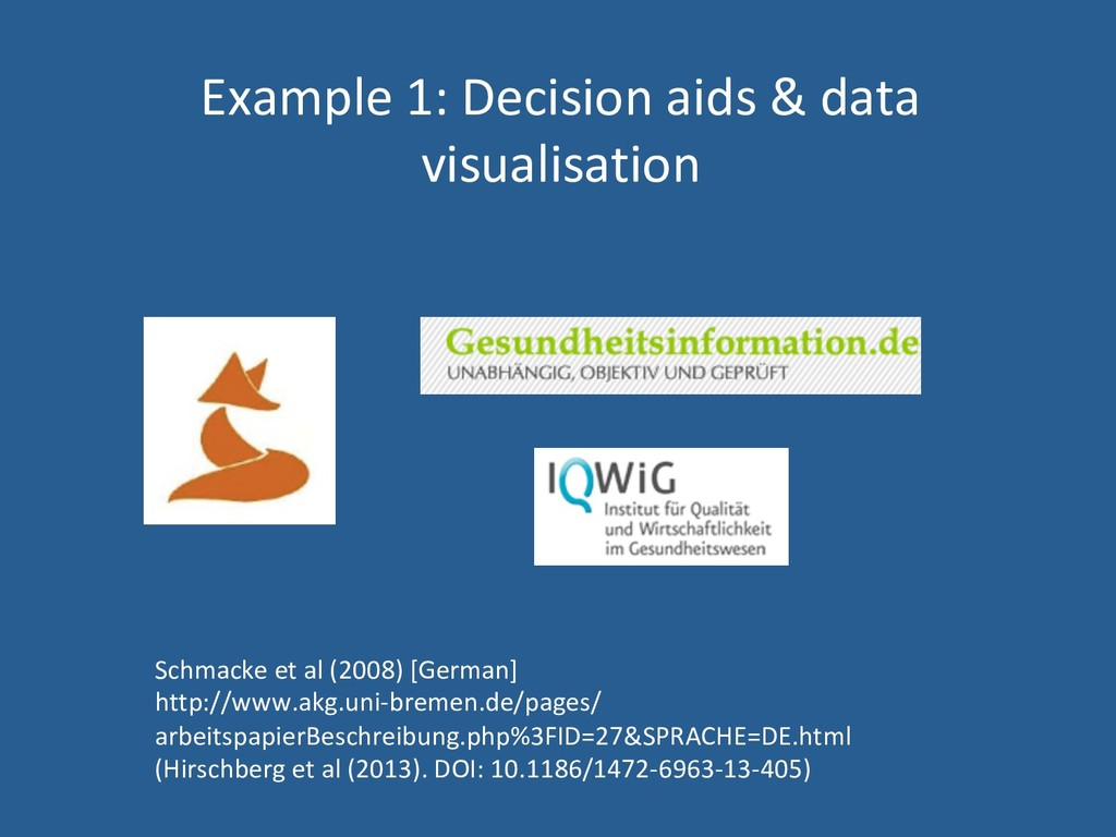 Example 1: Decision aids & data visualisation S...