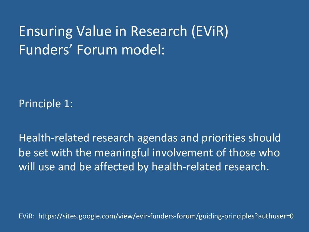 Ensuring Value in Research (EViR) Funders' Foru...