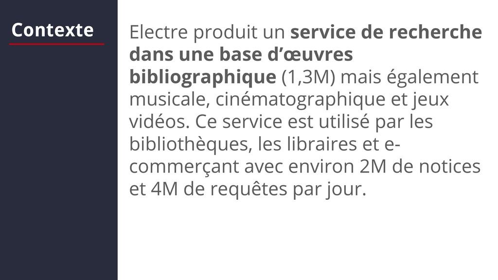 Contexte Electre produit un service de recherch...