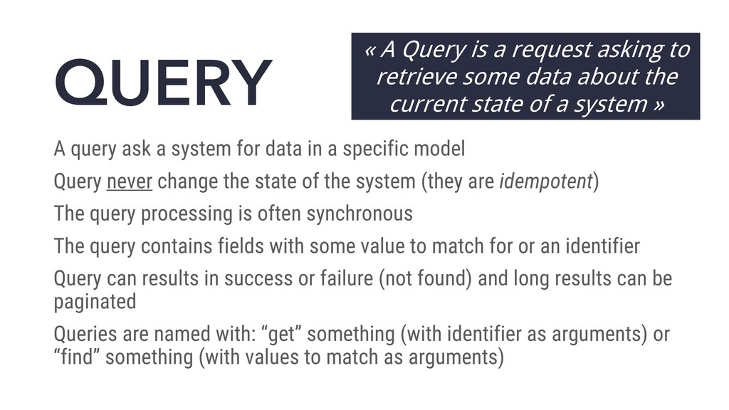 QUERY A query ask a system for data in a specif...