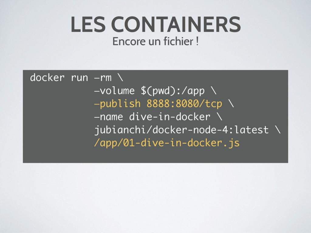 LES CONTAINERS Encore un fichier ! docker run —...