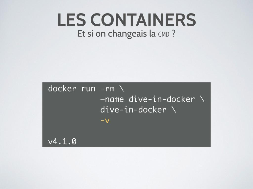 LES CONTAINERS Et si on changeais la CMD ? dock...