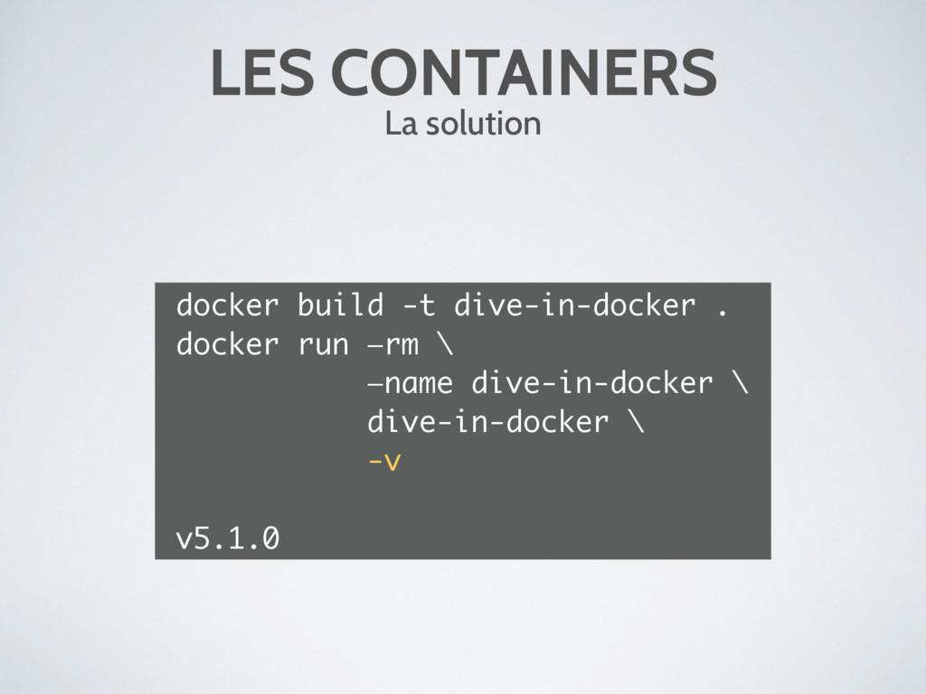 LES CONTAINERS La solution docker build -t dive...