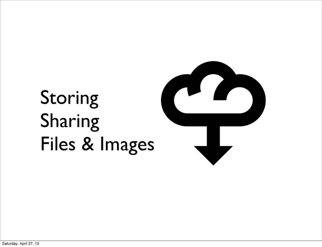 Storing Sharing Files & Images Saturday, April ...