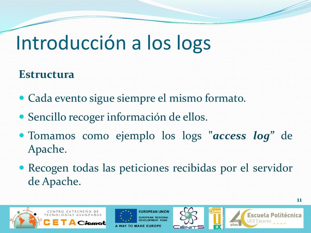 Introducción a los logs Estructura  Cada event...