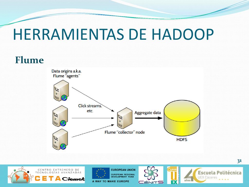 Flume HERRAMIENTAS DE HADOOP 31