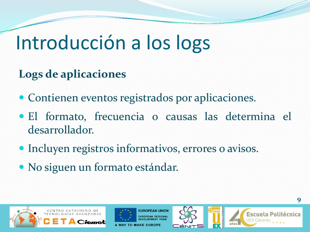 Introducción a los logs Logs de aplicaciones  ...